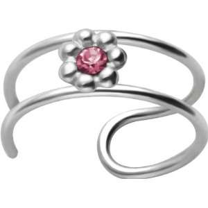 2 Band Pink CZ Flower Non Pierced Silver Cartilage Clip