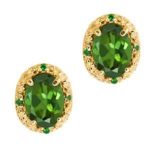 75 Ct Oval Green Tourmaline and Diamond Yellow Gold Plated Silver