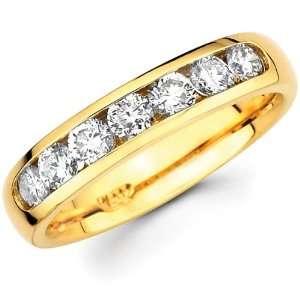 Seven Diamond 14K Yellow Gold Round Channel Set Wedding Ring Jewelry