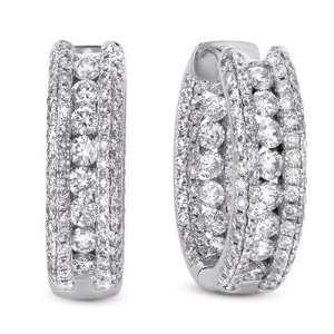 14k 2.96 Dwt Diamond White Gold Earrings   JewelryWeb