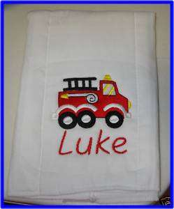 PERSONALIZED EMBROIDERED BABY FIRE TRUCK BURP CLOTH