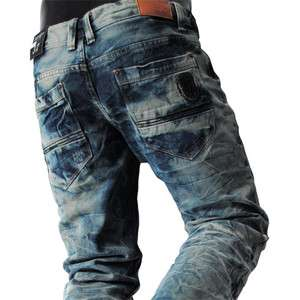 THELEES (J45) Casual Mens Premium Washing Low rise Slim Straight Jeans