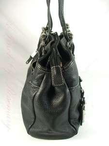 Tignanello Pocket Perfection Swagger Leather Satchel Bag Purse Black