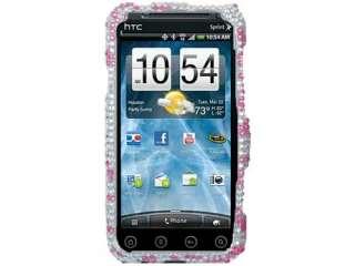 RHINESTONE BLING HARD CASE COVER HTC EVO 3D 4G HOT PINK