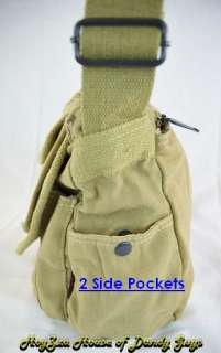 Vintage Cotton Canvas Casual Stylish Messenger Bag Beig