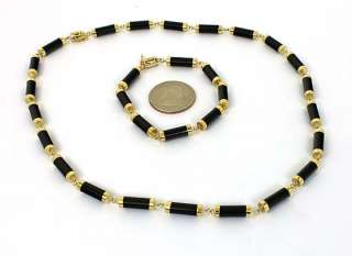 BEAUTIFUL 14K GOLD BLACK ONYX BRACELET & NECKLACE SET