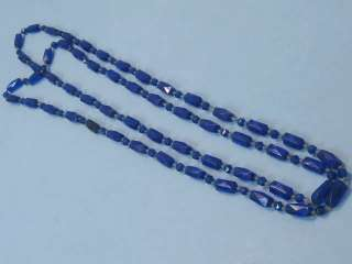 vtg 30s Deco Czech Glass Cobalt Blue Flapper Necklace