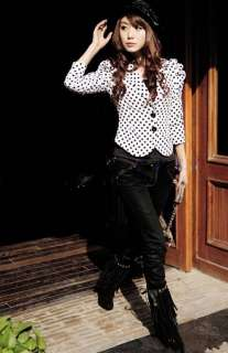 Fashion Korean Women Dots Printing Shrug Jacket 0700