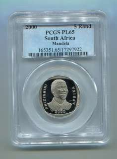 PCGS PROOF PL 65 SOUTH AFRICA Nelson Mandela R5 Year 2000 Coin