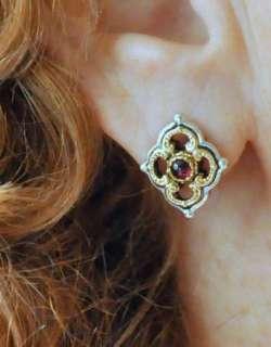 New KONSTANTINO SS 18K Gold Red Garnet Floral Post Earrings