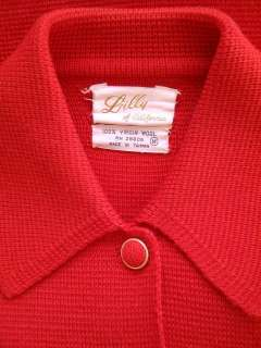 vtg 60s VALENTINE RED wool BUTTON FRONT knit DRESS cardigan SWEATER