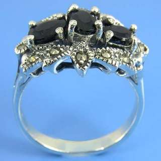 Natural Marcasite and Natural Blue Sapphire Ring (YSR 199)