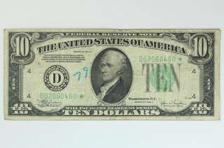 1934 C Ten Dollar $10 Bill Federal Reserve STAR Note Cleveland F 2008