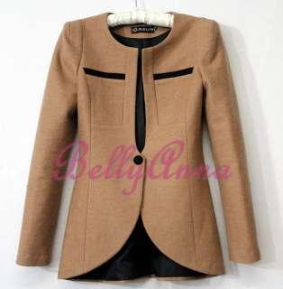Elegant OL High Quality Slim Cut Wool Jacket Blazer Suit Coat Outwear