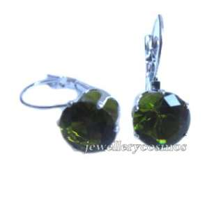 cute 10mm pink purple blue green black cz drop earrings