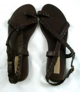 Michael Kors Brown Woven Leather Toe Ring Sandals 11M