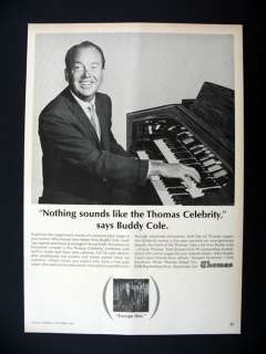 Thomas Celebrity Organ Buddy Cole 1964 print Ad advertisement