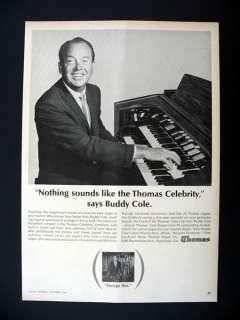 Thomas Celebrity Organ Buddy Cole 1964 print Ad advertisement