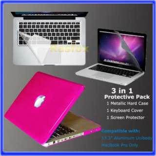 Pink 13.3 Inch MacBook Pro Metallic Hard Case,Keyboard Cover & Screen