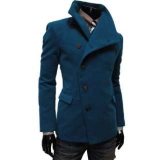 TheLees Mens Unbalance High Neck Slim PEA Coat Jacket: Clothing