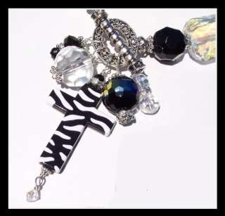 JuNky ART Zebra Cross CRYSTAL Toggle Collage Necklace