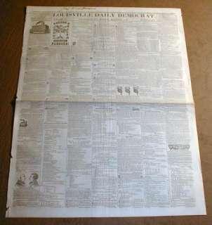 1848 Lousiville KENTUCKY newspaper MEXICAN AMERICAN WAR END James