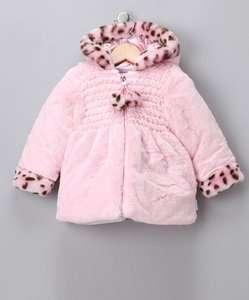 Bon Bebe Baby Girls Pink Faux Fur Hooded Jacket Coat Cheetah 18 Months