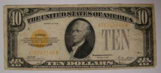 1928 $10 Ten Dollar Bill Gold Certificate Yellow Seal