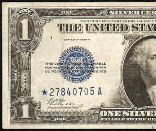 1928 A $1 DOLLAR BILL BLUE STAR SILVER CERTIFICATE FUNNYBACK NOTE Fr