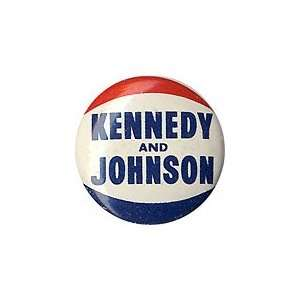 Pinback button promoting John Kennedy for president and Lyndon Johnson