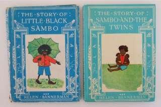 TWO LITTLE BLACK SAMBO BOOKS HELEN BANNERMAN 1968 & 1975