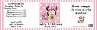 Birthday 1st Birthday MINNIE MOUSE WATER BOTTLE LABELS