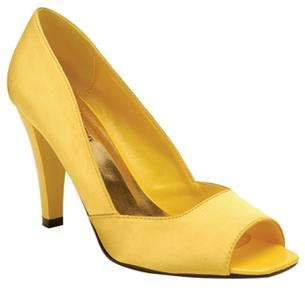 Yellow Size 8 PeepToe Satin High Heel Bridals Dress Pump Sandal Women