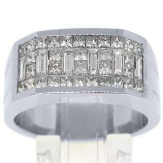 MENS 2 CARAT PRINCESS BAGUETTE CUT DIAMOND RING WEDDING BAND 18KT