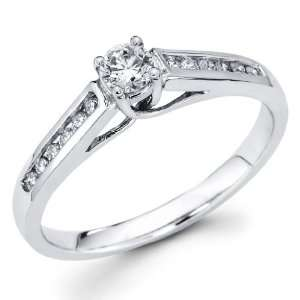 14K White Gold Round cut Diamond Solitaire Engagement Ring