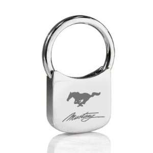 Ford Mustang Script Chrome Plated Metal Key Chain Automotive