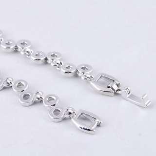 White Ringed Bead Link Czekh Rhinestone Crystal Bridal Necklace