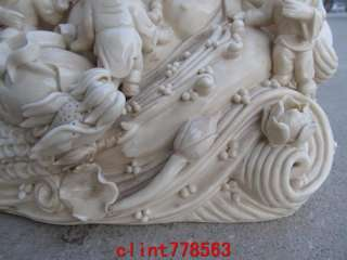 White porcelain Five Boys Play Elephant Maitreya Buddha Statue