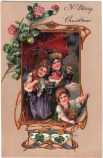 1900 PFB Girls Doll Flowers Embossed Christmas Postcard