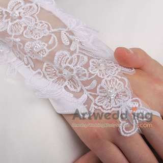 White/Ivory Satin Lace Pearl Fingerless Wedding Party Bridal Opera