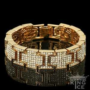 Gold Plated Mens Cubic Zirconia Hip Hop Fashion Bracelet Jewelry