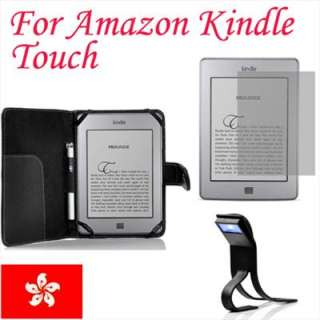 Black Folio Leather Case Cover For  Kindle Touch+Screen Guard