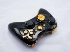 XBOX 360 BLACK AND CHROME GOLD WIRELESS CONTROLLER SHELL CASE MOD