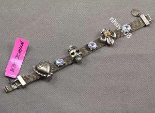 CRYSTAL Skeleton SKULL BETSEY JOHNSON heart bracelet