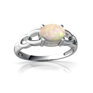 14K White Gold Oval Genuine Opal Ring Size 5.5 Jewelry