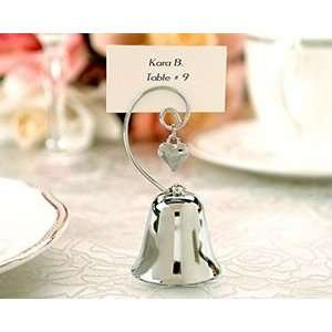 Wedding Bell Place Card/Photo Holder with Dangling Heart