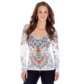 Wrangler Womens Shirt  Multi Color Scoop Neck Long Sleeve Tee   XL