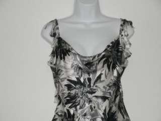 NEW WOT S.JHON Silk Black & White Floral Tank Top Size   6