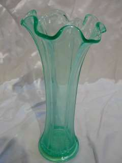 Vintage Vaseline Uranium Glass Tree Trunk Vase 9.5""