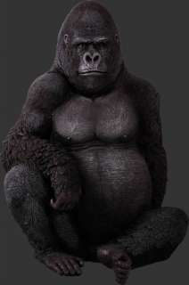 SITTING GORILLA LIFE SIZE ANIMAL STATUE APE MONKEY